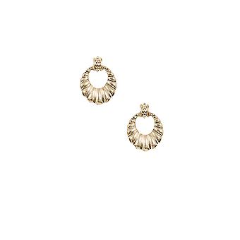 Gold Shell Circle Cut Out Earrings