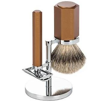 Muhle hexagone Silvertip 3pc Safety Razor ensemble en Bronze