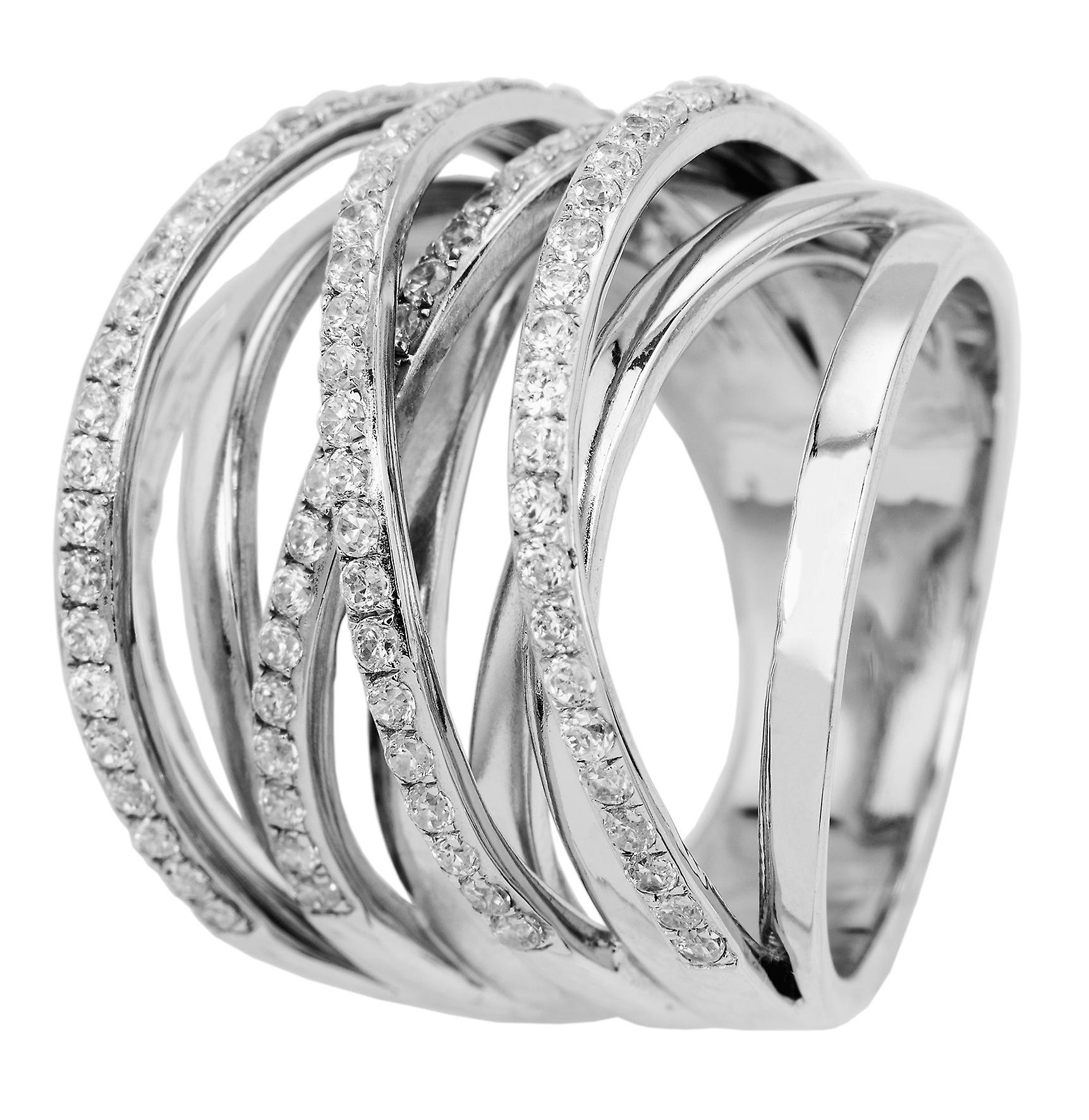Burgmeister women's ring JBM2004-111, 925 sterling silver rhodanized, white zirconia