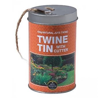 Twine Tin with Cutter (100g 3 Ply Natural Jute Twine) Garden Household Use