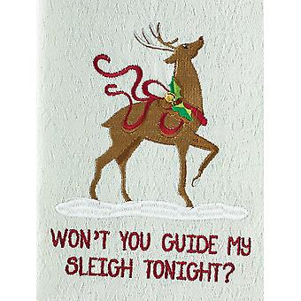 Wont You Guide My Sleigh Tonight Reindeer Embroidered Kitchen Dish Towel