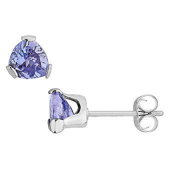 Trillion Cut Tanzanite Stud Earrings 4/5 Carat (ctw) in Sterling Silver