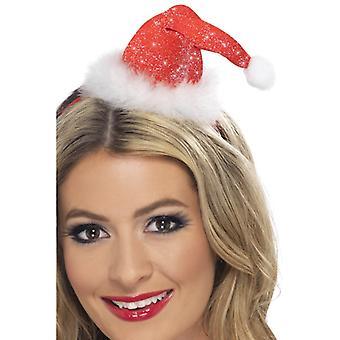 Mini Santa hat on headband of Boppers has Father Christmas Santa
