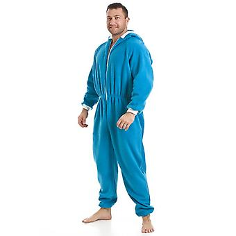 Camille Mens Blue All In One Fleece Hooded Pocketed Pyjama Onesie Size S-5XL