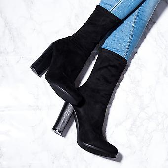 Spylovebuy TABITHA Sock Fitted Block Heel Ankle Boots Shoes - Black Suede Style