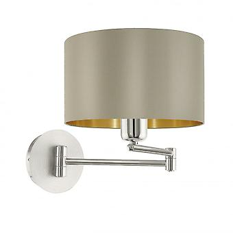 Eglo Maserlo 1 Light Switched Wall Light Glossy Taupe