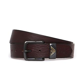 Armani Jeans Brown Grained Leather Belt