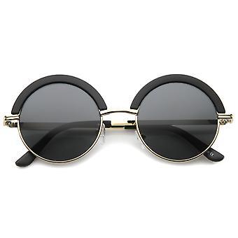 Mod mode Oversize halv-Frame pande øjenlåg runde solbriller 50mm