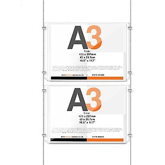 2 Pocket A3 Ceiling To Floor Poster Cable Kit - Landscape