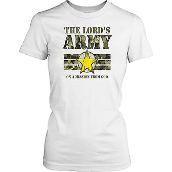 Damen T-shirt DTG Print - The Lords Armee On A Mission von Gott - religiösen - lustig