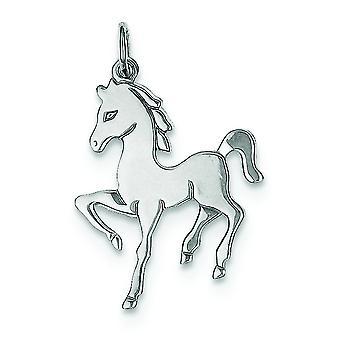 Sterlingsølv Solid poleret ikke engraveable hest Disc charme -.8 gram