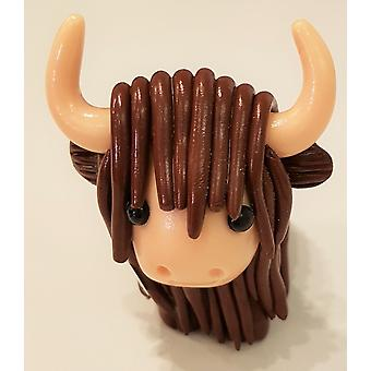 McKayKrafts Polymer Clay Dark Brown Highland Cow