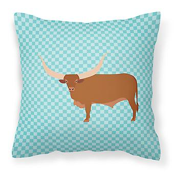 Ankole-Watusu Cow Blue Check Fabric Decorative Pillow