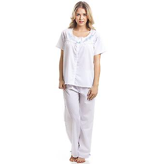 Camille Classic Blue Dot Short Sleeve White Pyjama Set
