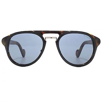 Moncler Classic Double Bridge Sunglasses In Black On Havana