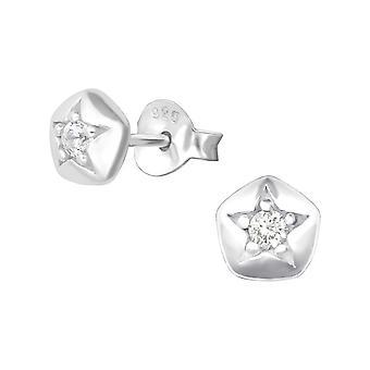 Star - 925 Sterling Silver Cubic Zirconia Ear Studs