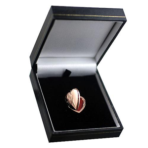 9ct Rose Gold 22x19mm hand engraved heart shaped Locket