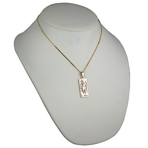9ct Gold 35x15mm rectangular St Christopher Pendant on a bail with a curb Chain 18 inches