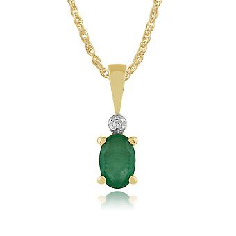 9ct Yellow Gold 0.42ct Natural Emerald & Diamond Classic Oval Pendant on Chain
