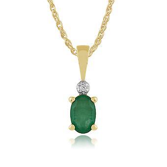 9 kt gul guld 0,42 ct naturlige Emerald & Diamond Classic Oval vedhæng på kæde