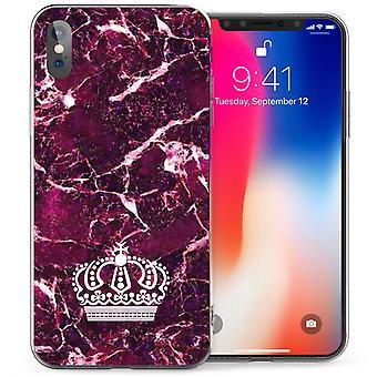 iPhonegeval X marmer kroon TPU Gel - paars