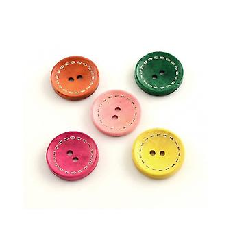 Packet 10 x Mixed Wood 25mm Round 2-Holed Patterned Sew On Buttons HA14735