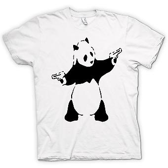 Heren T-shirt - Banksy - Graffiti Wall Art - Panda Pistol