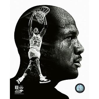 Michael Jordan profiel foto afdrukken