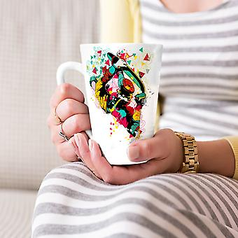 Colorful Geometry Music NEW White Tea Coffee Ceramic Latte Mug 17 oz | Wellcoda