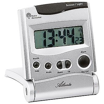 White radio controlled alarm clock dial lighting display date and temperature
