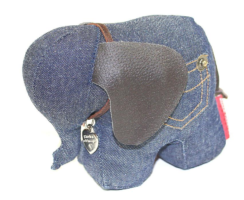 Denim Elephant Paperweight by Monica Richards