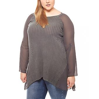 vivance collection long shirt transparent chiffon inserts plus size grey