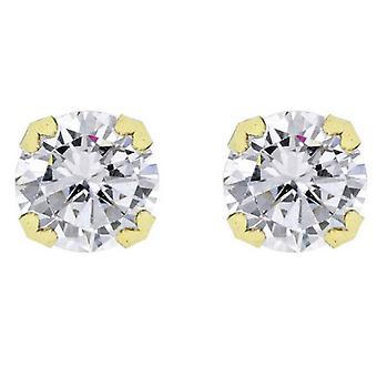 IBB London Round Cubic Zirconia Stud Earrings - Gold/Silver