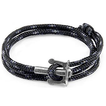 Anchor and Crew Union Silver and Rope Bracelet - Black