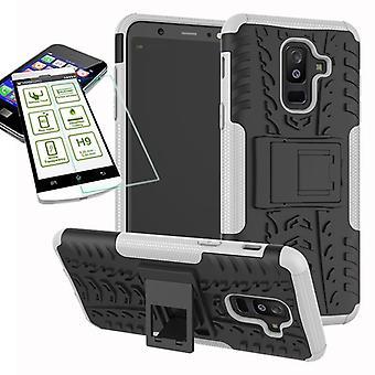 Hybrid case 2 stuk wit voor Samsung Galaxy A6 plus A605 2018 + gevaldekking van kogelvrij tas