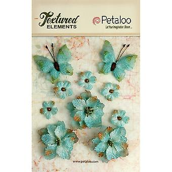 Textured Elements Burlap Flowers/Butterflies .75
