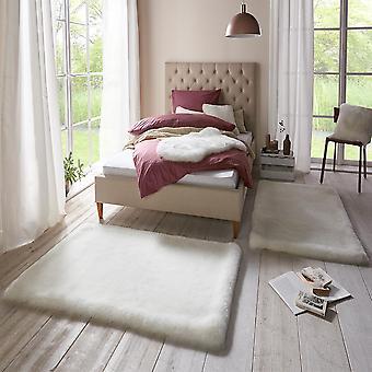 Zachte faux fur tapijt bed surround superieure uni wit crème 2 x 90 x 140 cm