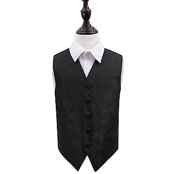 Zwarte Paisley bruiloft vest voor jongens