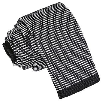 White and Black Pin Stripe Knitted Skinny Tie