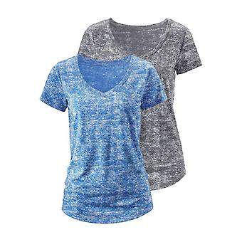2 Pack shirt beachtime ladies of tank tops grey and blue