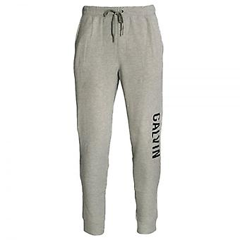 Calvin Klein Logo algemado moletom, Heather Grey, pequeno