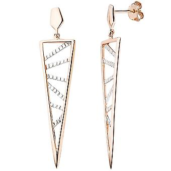 Earrings triangular pointed 925 silver plated rose gold earrings