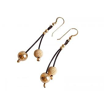 Lederen earring leer oorbellen vergulde oorbellen CORA