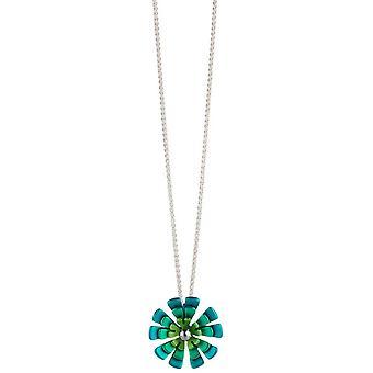 TI2 titanio doppio ciondolo fiore petalo Ten - verde