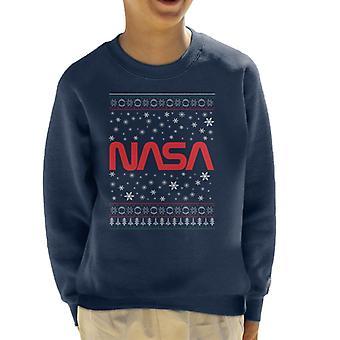 The NASA 1975-1992 Logo Christmas Knit Pattern Kid's Sweatshirt