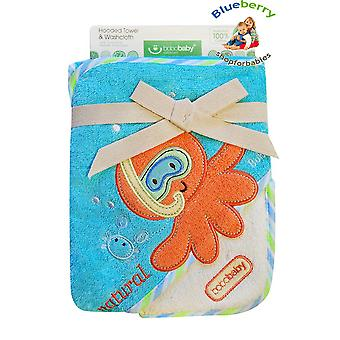 BlueberryShop Embroidered COTTON HOODED Bath Pool Beach TOWEL Baby Kid Todler FREE Washcloth (31.5