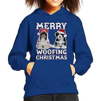 Merry Woofing Christmas Dogs Kid's Hooded Sweatshirt
