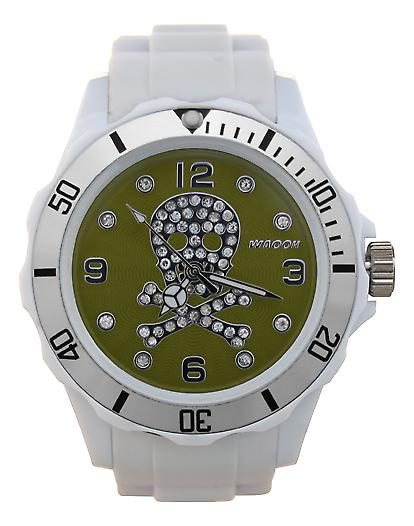 Waooh - toont schedel Strass 39 White Dial color zilver