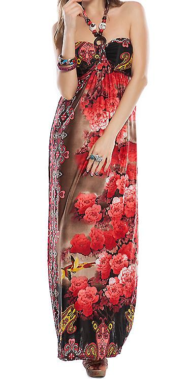 Waooh - Fashion - long floral print dress and wooden jewelery