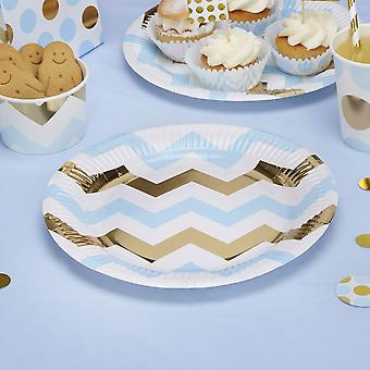 Blue Gold and White Chevron Party Paper Plates x 8 / Christening / baby shower